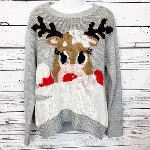 JOLT gray red white reindeer Christmas sweater